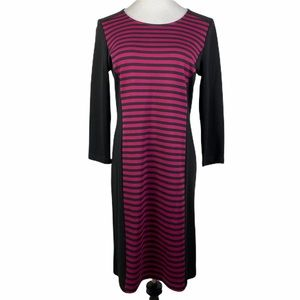 SPENSE Black Purple Striped 3/4 Sleeve Midi Dress